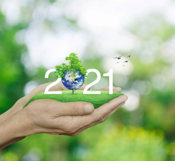 Happy new year 2021 ecological cover, Save the earth concept, Elements of this image furnished by NASA stock photo