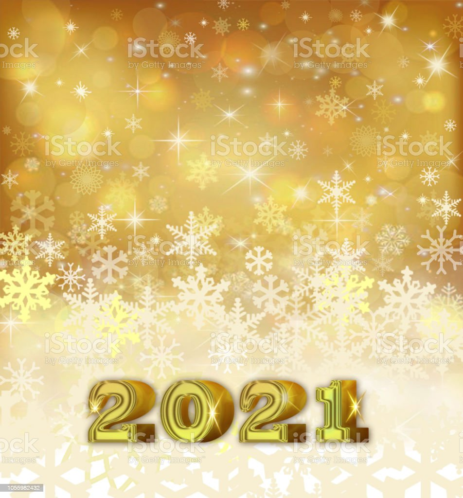 Happy New Year 2021- Golden and white background with snowflakes stock photo