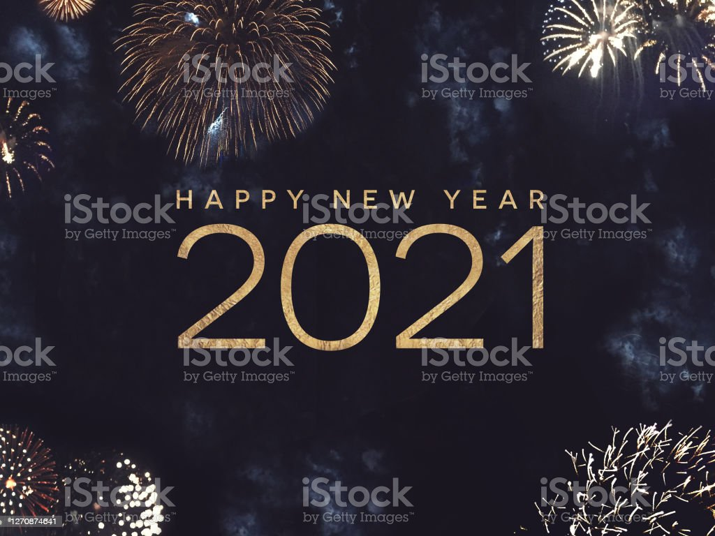 Happy New Year 2021 Text Holiday Graphic with Gold Fireworks Background in Night Sky - Royalty-free 2021 Foto de stock