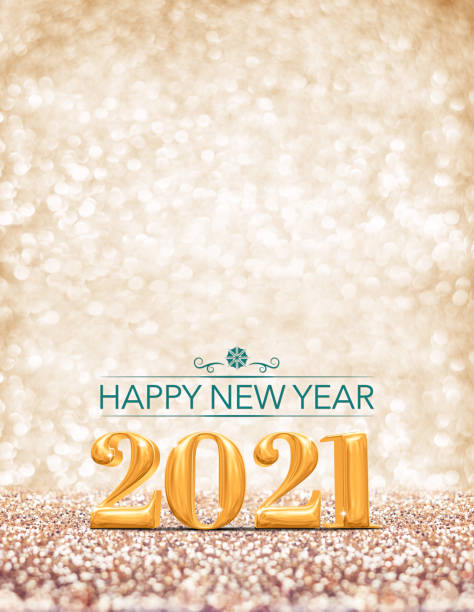 happy new year 2021 year gold number ( 3d rendering ) at sparkling golden glitter studio background ,vertical Holiday Greeting card.Banner for advertise on mobile stock photo