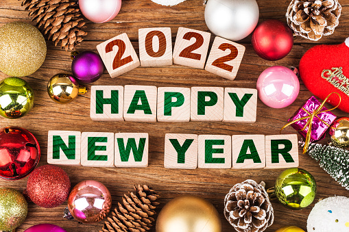 Happy New Year 2022, Christmas 2022, Christmas gifts placed in a festive atmosphere