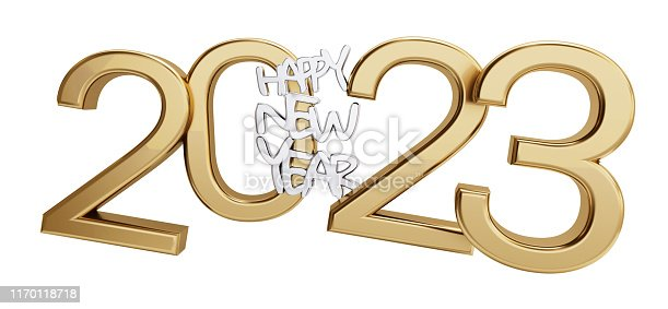 istock happy new year 2023 golden isolated bold letters 3d-illustration 1170118718