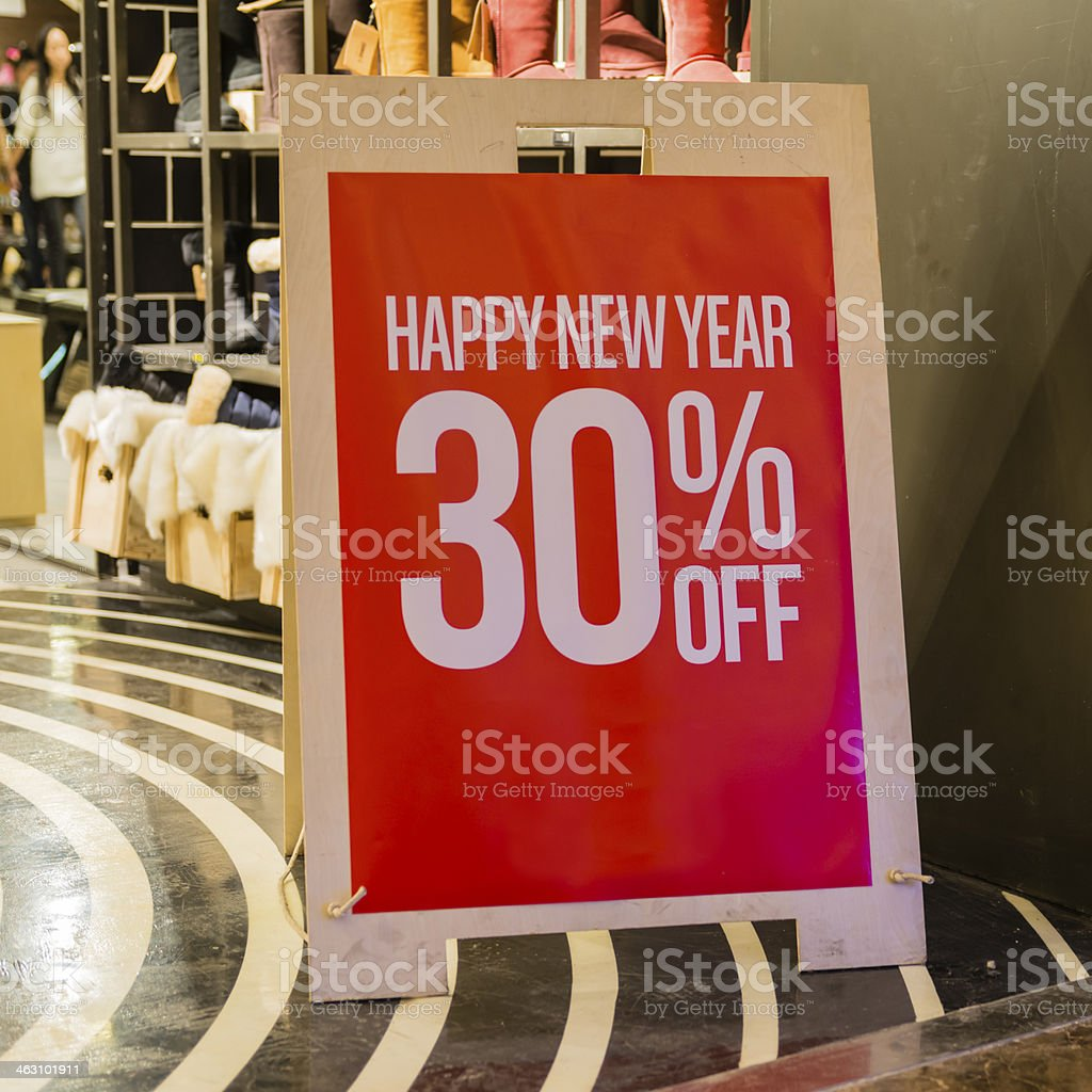 Happy New Year 30% off sale stock photo