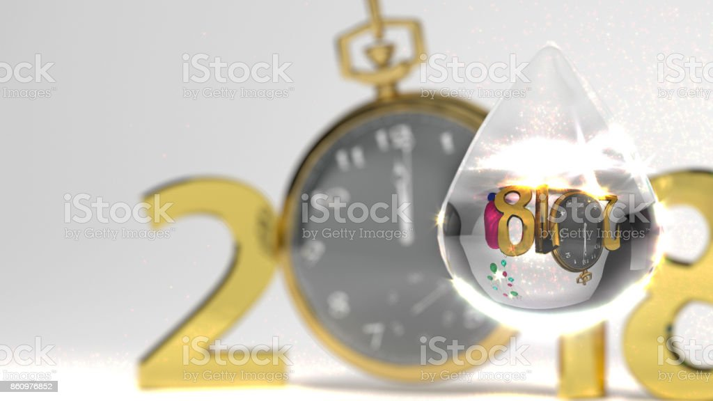 Happy new year 3D illustration and golden numbers and gold watch white background stock photo