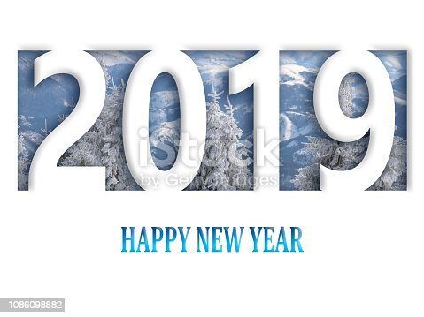 istock 2019 happy new year, abstract design on white paper 1086098882