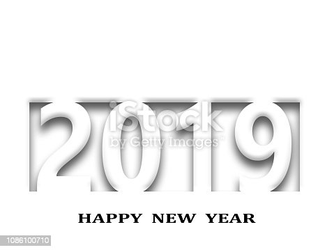 istock 2019 happy new year, abstract design on white paper 1086100710