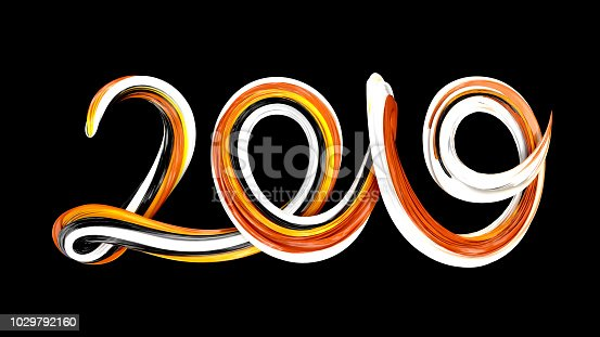 1029792184istockphoto 2019 Happy New Year background. Colorful brushstroke 2019 text 1029792160