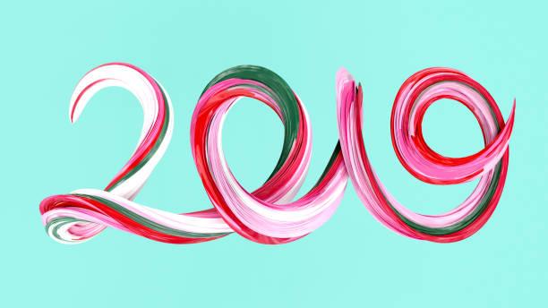 Fond de 2019 de happy New Year. Texte coup de pinceau coloré 2019 - Photo
