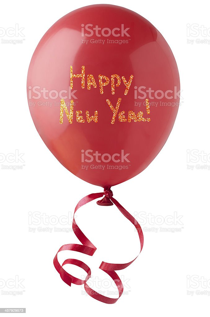 Happy New Year Balloon with Glitter stock photo