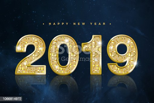 istock Happy New Year Banner with Gold 2019 Numbers on Starry outer space background texture 1066814972