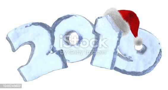 istock Happy New Year blue ice 2019 text with red hat 1045245602