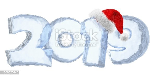 istock 2019 Happy New Year blue ice text with red hat 1058320440