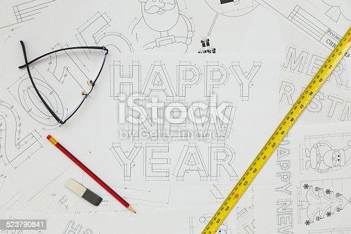 istock Happy New Year Blueprints 523790841