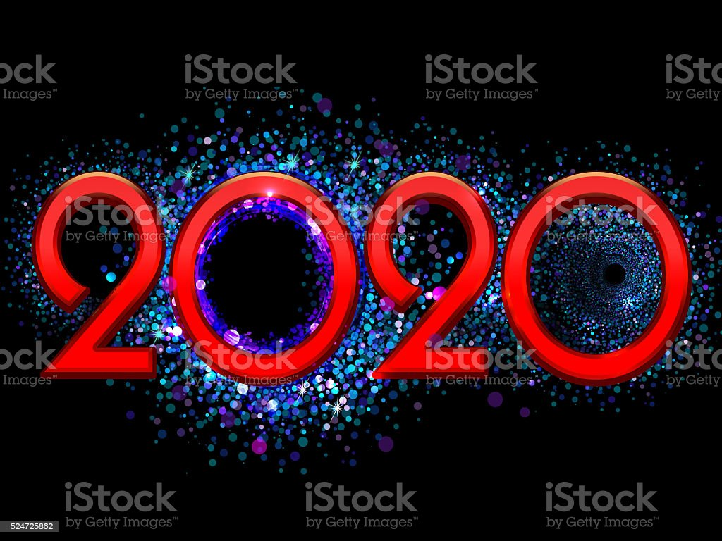 Happy New Year bright red text stock photo