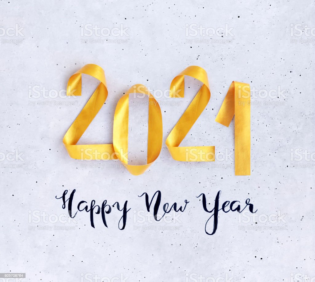 Happy New Year Card 2021 With Bright Golden Numbers On ...