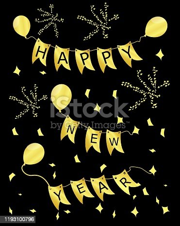 istock Happy New Year card – illustration 1193100796
