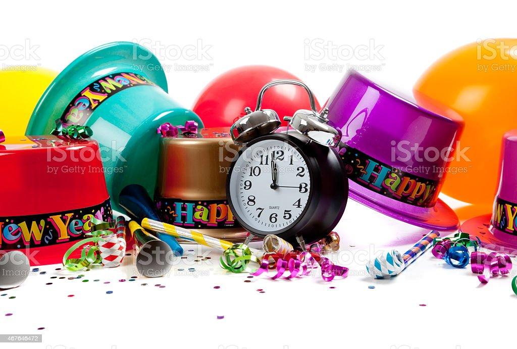 Joyeux nouvel an et fournitures de bureau sur blanc u photos et