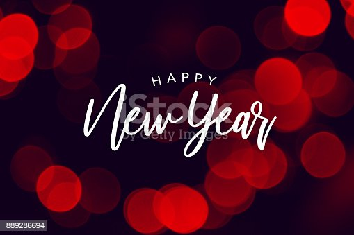 istock Happy New Year Celebration Text Over Red Duotone Bokeh Lights 889286694