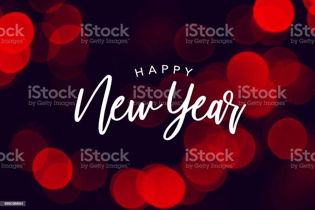 Happy New Year Celebration Text Over Red Duotone Bokeh Lights stock photo