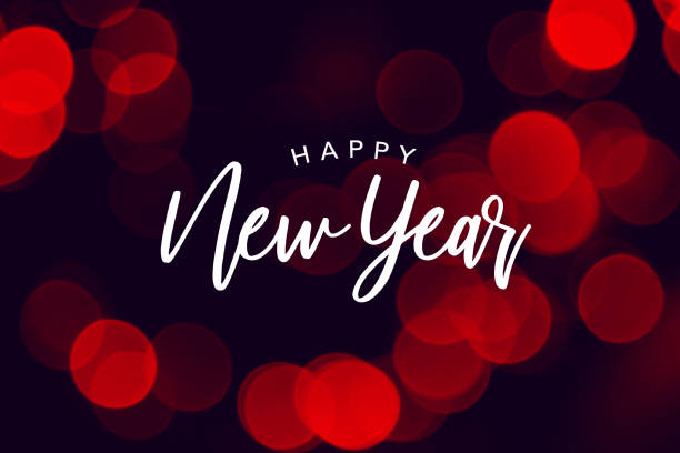 happy new year celebration text over red duotone bokeh lights - new years eve stock photos and pictures