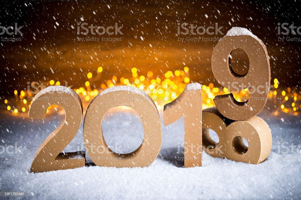 Weihnachten 2019 Schnee.2019 Frohes Neues Jahr Weihnachten 2018 Grußkarte Nummer Symbol