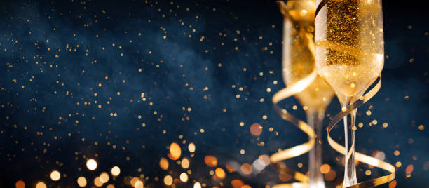 Happy New Year. Christmas and New Year holidays background, winter season. Happy New Year. Christmas and New Year holidays background with copy space. champagne stock pictures, royalty-free photos & images