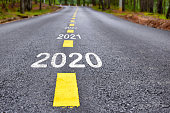 Number of 2020 to 2022 on asphalt road surface with marking lines