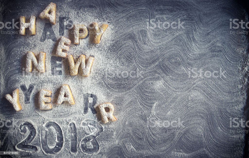 Happy New Year cookies stock photo