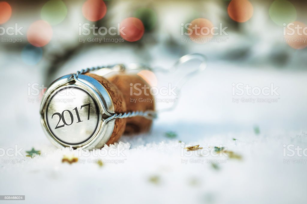 Happy New Year. Cork on the Snow stock photo