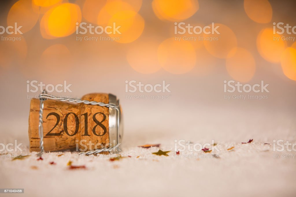 Happy New Year - Cork on the Snow stock photo