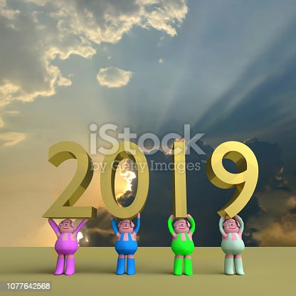 Happy New Year, cute funny pig ,symbol of the 2019 year,3D rendering