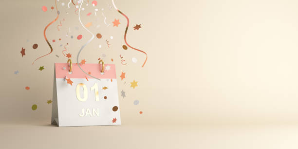 Happy New Year design creative concept, January 1st calendar and glittering confetti on gradient background. Copy space text area. Happy New Year design creative concept, January 1st calendar and glittering confetti on gradient background. Copy space text area, 3D rendering illustration. new years day stock pictures, royalty-free photos & images