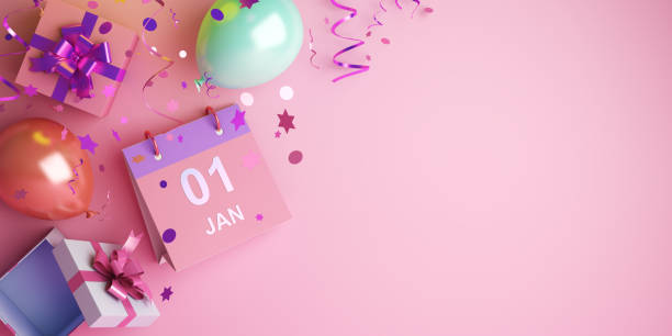 Happy New Year design creative concept, January 1st calendar, balloon, gift box, glittering confetti on pink background. Happy New Year design creative concept, January 1st calendar, balloon, gift box, glittering confetti on pink background. Copy space text area, 3D rendering illustration. new years day stock pictures, royalty-free photos & images
