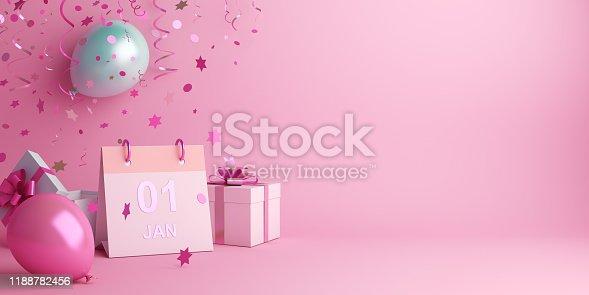 istock Happy New Year design creative concept, January 1st calendar, balloon, gift box, glittering confetti on pink background. 1188782456