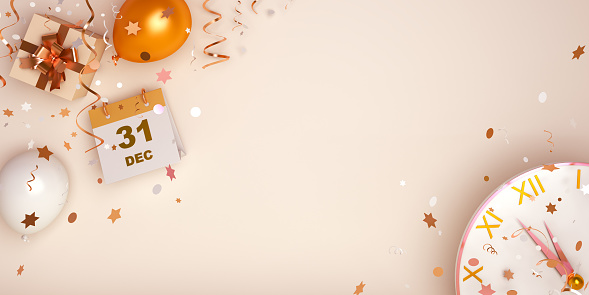 istock Happy New Year eve design creative concept, December 31 calendar, gift box, gold and white balloon, clock and glittering confetti on gradient background. Copy space text area 1189137945