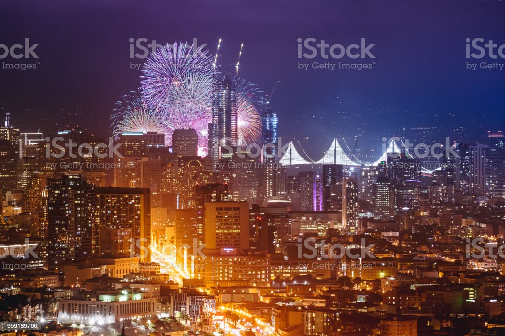 happy new year firework at san francisco ca usa 2017 royalty free stock photo