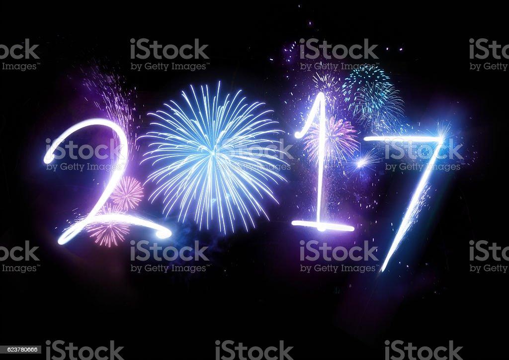 Happy New Year Fireworks 2017 stock photo