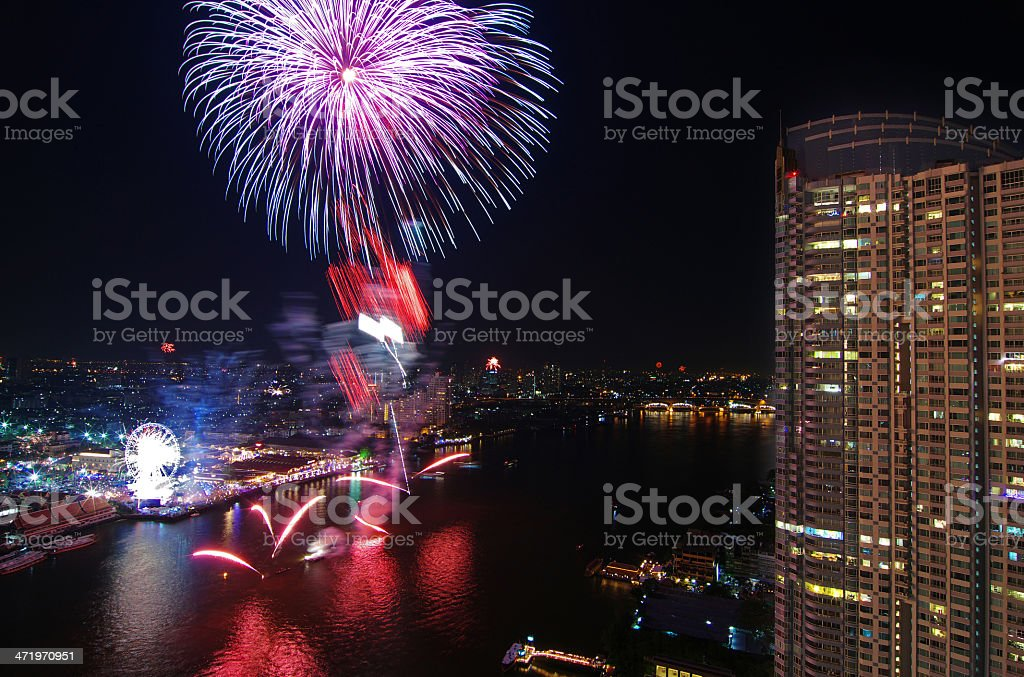 Happy New Year fireworks night scene, bangkok cityscape river view royalty-free stock photo