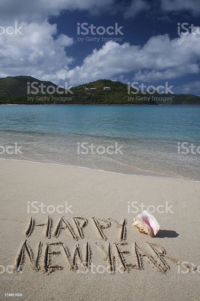 Happy New Year from Paradise Message on Tropical Beach royalty-free stock photo