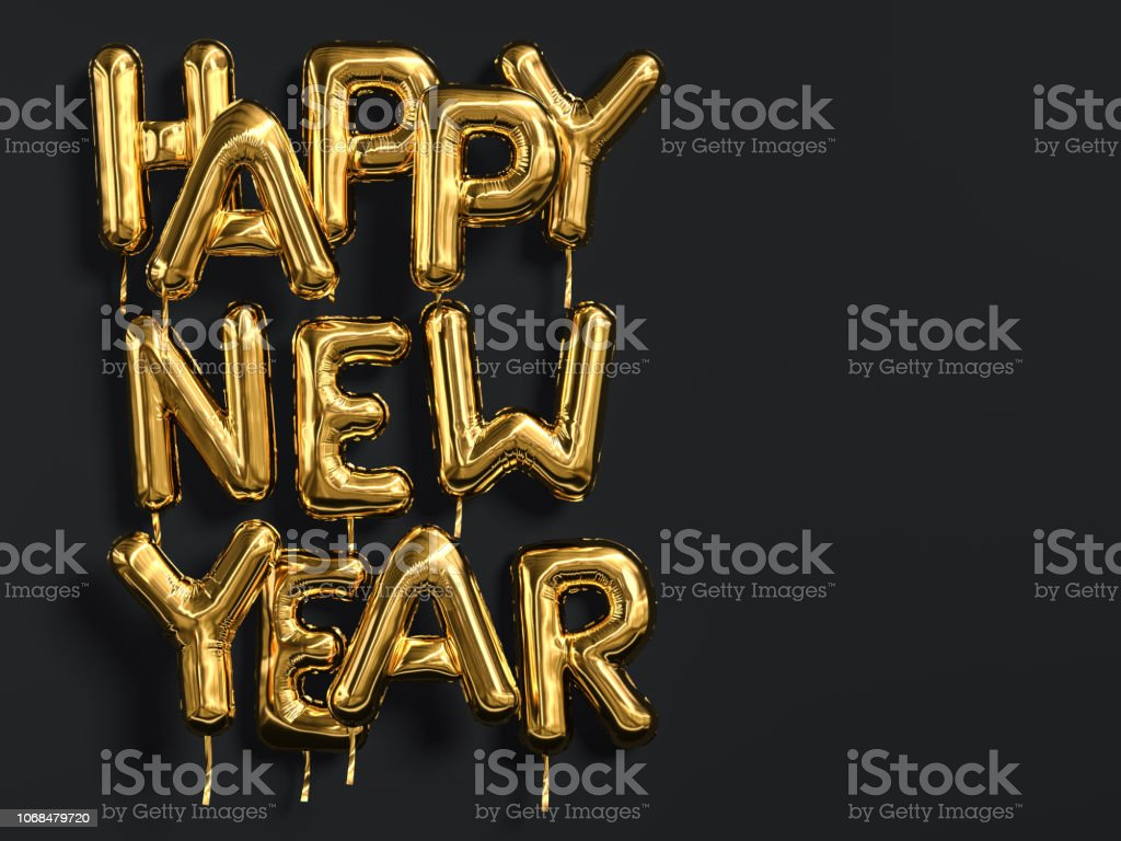 Happy New Year gold text on black background, golden foil balloon typography stock photo