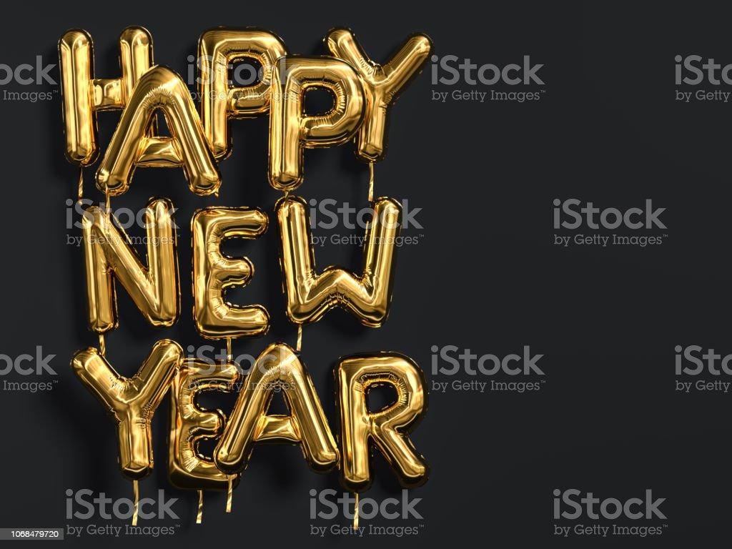 Feliz ano novo ouro texto na tipografia de balão de folha de fundo preto, dourado - foto de acervo