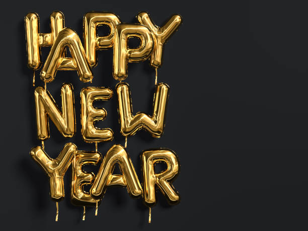 happy new year gold text on black background, golden foil balloon typography - new year imagens e fotografias de stock