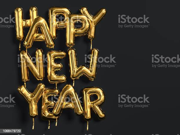 Happy New Year Gold Text On Black Background Golden Foil Balloon Typography - Fotografias de stock e mais imagens de 2019