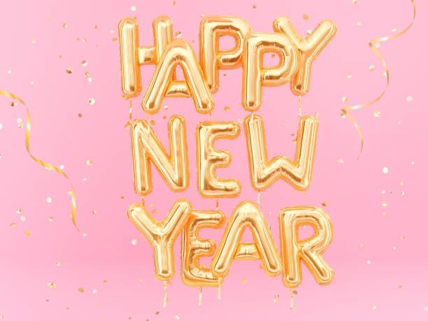 happy new year gold text auf rosa girly hintergrund, - rosa zitate stock-fotos und bilder