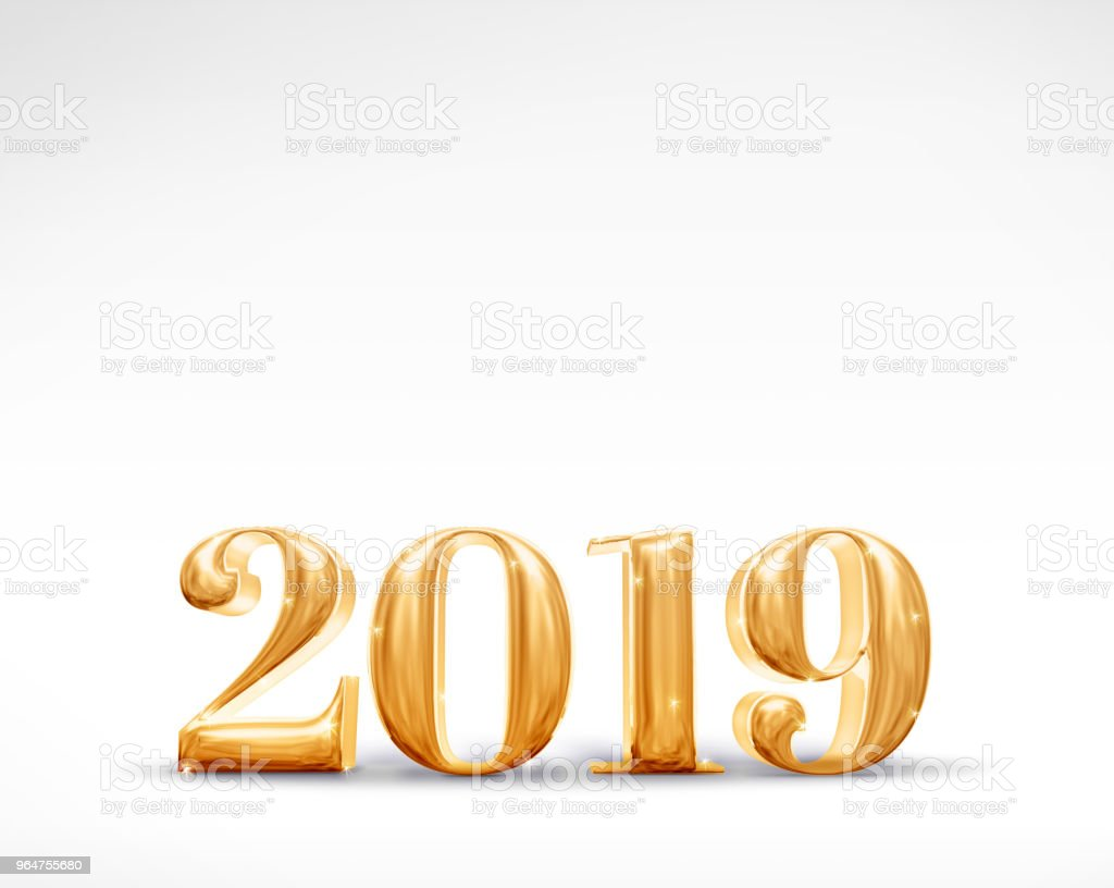 2019 happy new year golden number (3d rendering) on white studio room,Holiday card,Leave space for adding text. royalty-free stock photo