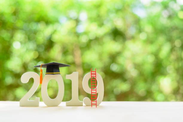 Frohes neues Jahr 2019 / Graduate Studium im Ausland Programm, Zeit Zeitplan Anordnung, Bildungskonzept: schwarze Graduierung Kappe des Erfolgs auf Nummer 2019 weiße Holz geschnitten auf Schreibtisch Tisch, Natur grün hintergrund – Foto