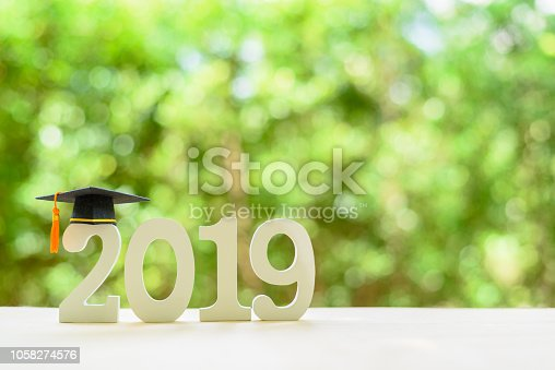 istock 2019 happy new year / graduate study abroad program, time schedule arrangement, education concept : Black graduation cap of success on number 2019 white wood cut on desk table, nature green background 1058274576