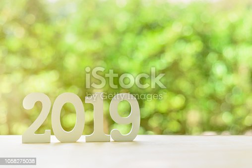 istock 2019 happy new year, green nature theme concept : Number 2019 white wood cut on a desk table in a public garden, depicts new bloom spreads fragrance, beauty and freshness added into new bright life 1058275038