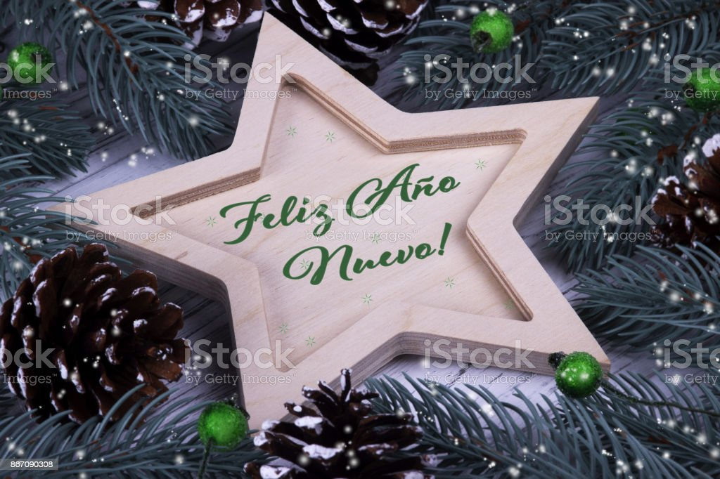 Happy New Year greeting card in Spanish stock photo