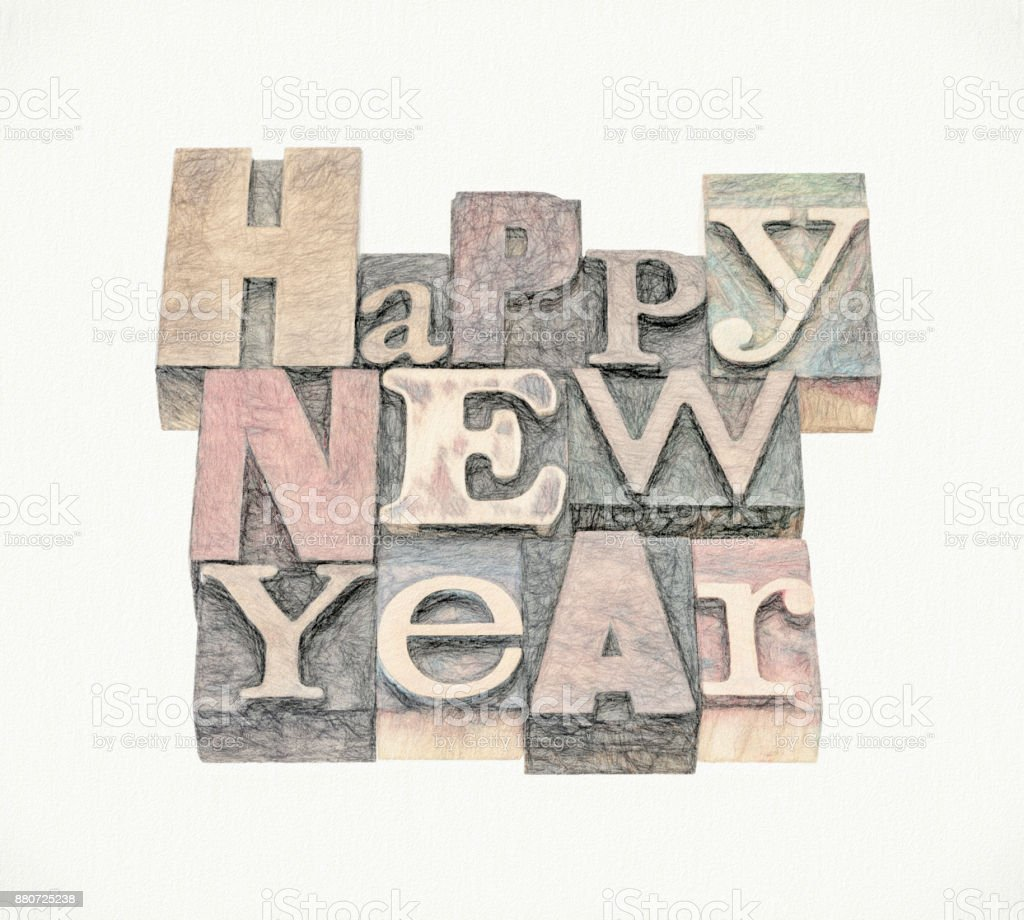 Happy New Year greeting card stock photo